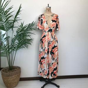 Vintage 70's Floral Flutter Sleeve Maxi Dress